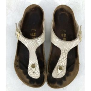 Birkenstock Leather Sandals Sz 40 White Iridescent